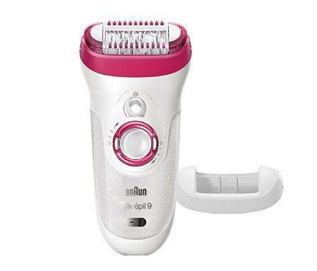 Braun Silk-épil 9 9-521 Women's Epilator, Electric Hair Removal, Cordless, Wet & Dry, White/Pink