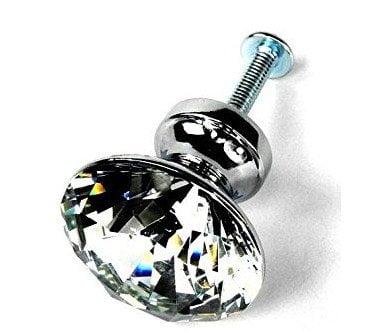 HOSL 10PCS Diamond Shape Crystal Glass Cabinet Knob Cupboard Drawer Pull Handle