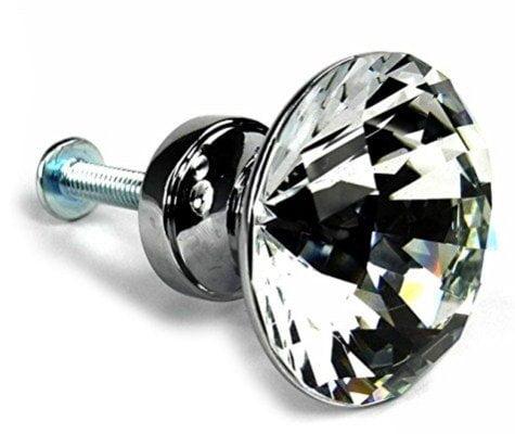 WINGONEER 25mm Diamond Shape Crystal Glass Cabinet Knob Cupboard Drawer Pull Handle, 10 pcs